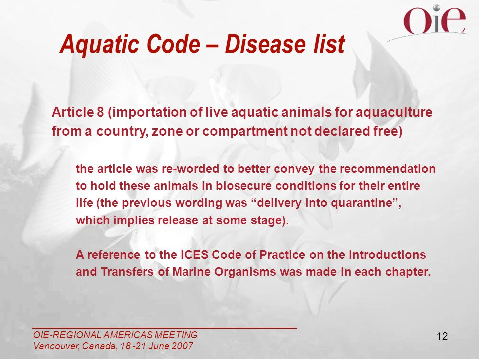 ___________________________________________________ OIE-REGIONAL AMERICAS MEETING Vancouver, Canada, 18 -21 June 2007 12 Article 8 (importation of live aquatic animals for aquaculture from a country, zone or compartment not declared free) the article was re-worded to better convey the recommendation to hold these animals in biosecure conditions for their entire life (the previous wording was delivery into quarantine, which implies release at some stage).