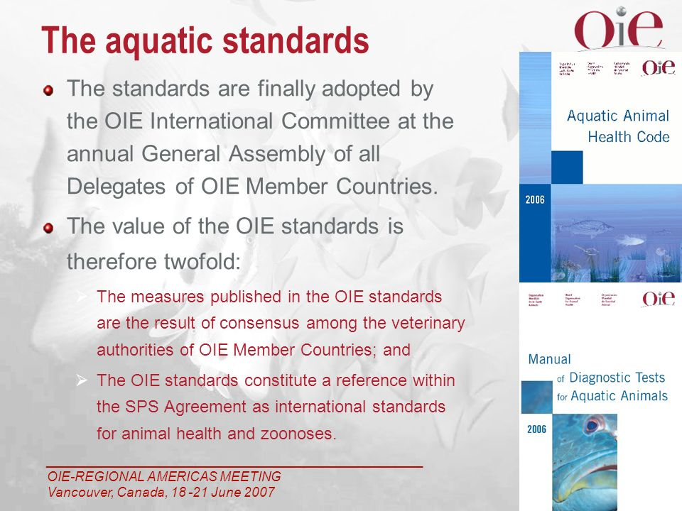 ___________________________________________________ OIE-REGIONAL AMERICAS MEETING Vancouver, Canada, 18 -21 June 2007 4 The standards are finally adopted by the OIE International Committee at the annual General Assembly of all Delegates of OIE Member Countries.