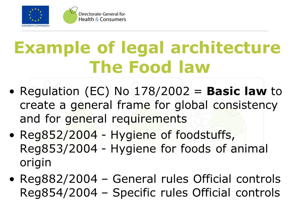 Example of legal architecture The Food law Regulation (EC) No 178/2002 = Basic law to create a general frame for global consistency and for general requirements Reg852/ Hygiene of foodstuffs, Reg853/ Hygiene for foods of animal origin Reg882/2004 – General rules Official controls Reg854/2004 – Specific rules Official controls