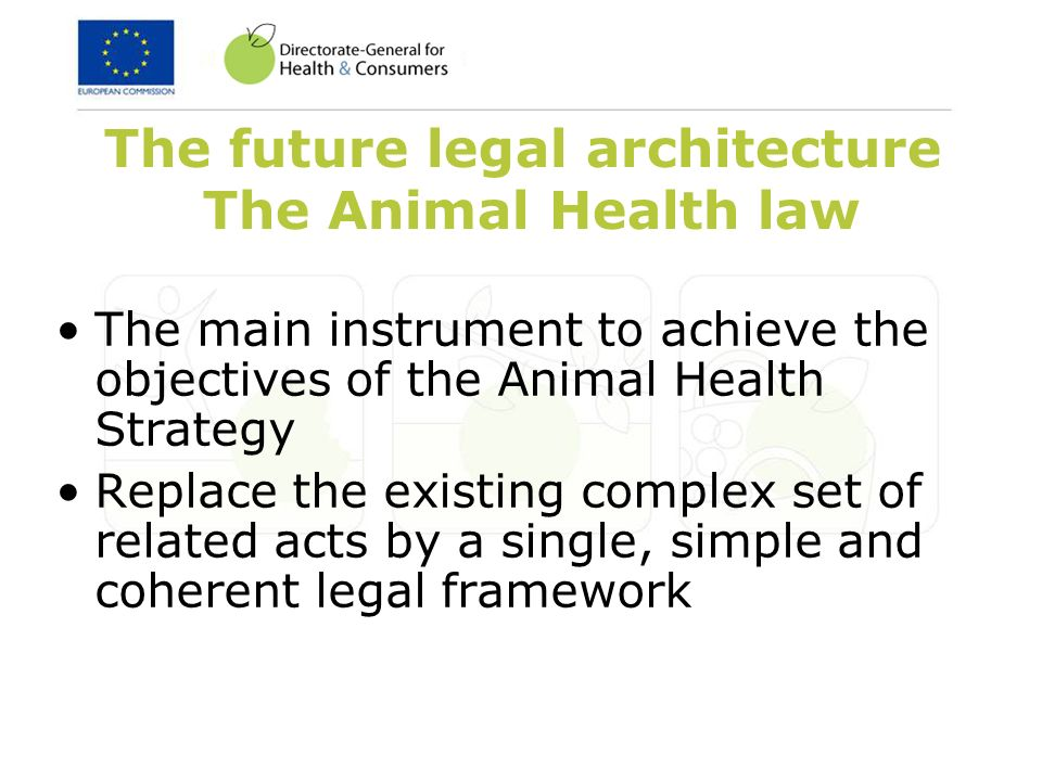 The future legal architecture The Animal Health law The main instrument to achieve the objectives of the Animal Health Strategy Replace the existing complex set of related acts by a single, simple and coherent legal framework