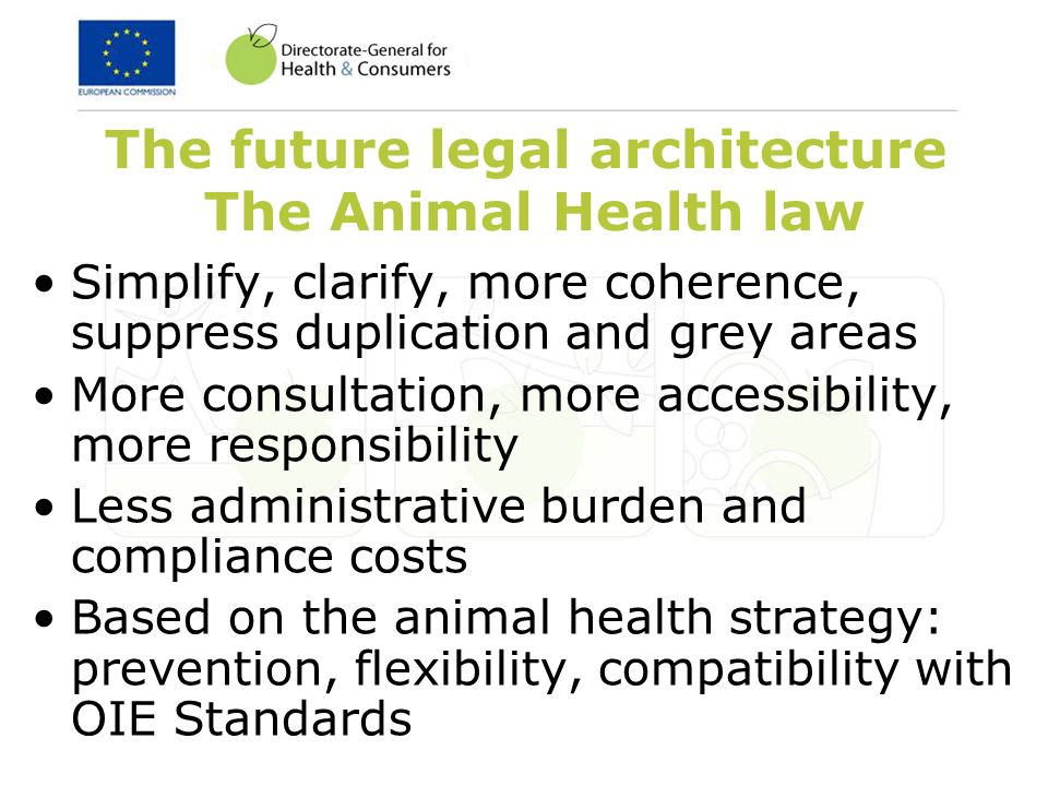 The future legal architecture The Animal Health law Simplify, clarify, more coherence, suppress duplication and grey areas More consultation, more accessibility, more responsibility Less administrative burden and compliance costs Based on the animal health strategy: prevention, flexibility, compatibility with OIE Standards