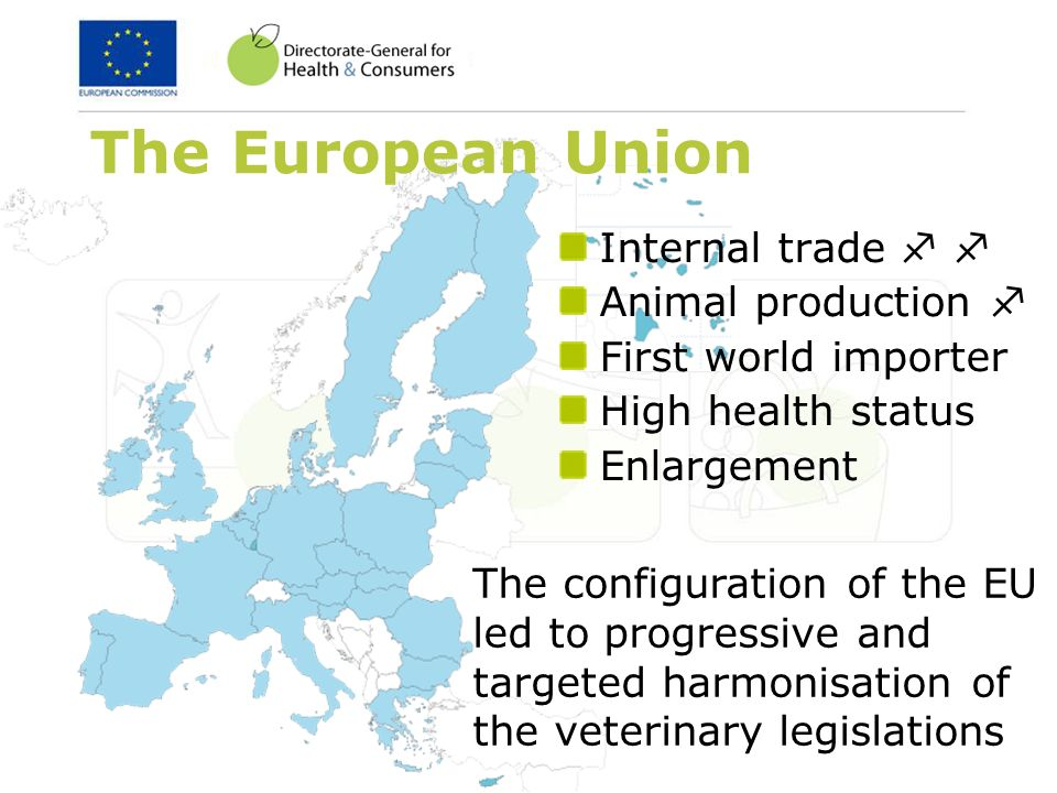 The European Union Internal trade Animal production First world importer High health status Enlargement The configuration of the EU led to progressive and targeted harmonisation of the veterinary legislations