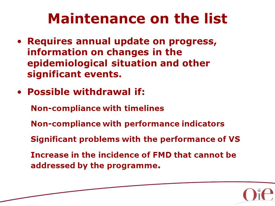 Maintenance on the list Requires annual update on progress, information on changes in the epidemiological situation and other significant events. Poss