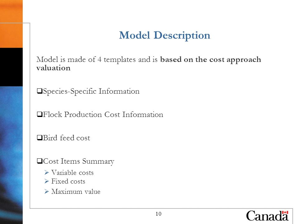 10 Model Description Model is made of 4 templates and is based on the cost approach valuation Species-Specific Information Flock Production Cost Information Bird feed cost Cost Items Summary Variable costs Fixed costs Maximum value