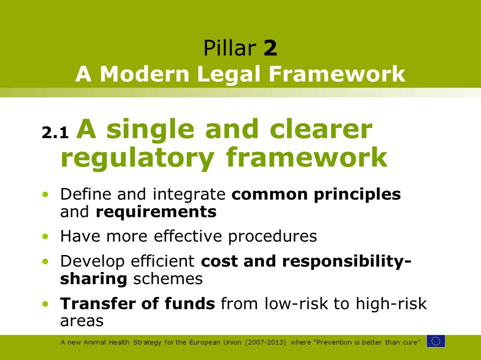 A new Animal Health Strategy for the European Union (2007-2013) where Prevention is better than cure Pillar 2 A Modern Legal Framework 2.1 A single an