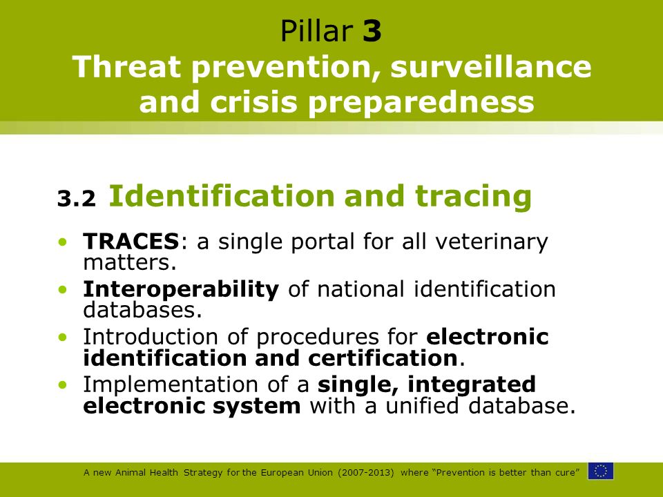 A new Animal Health Strategy for the European Union (2007-2013) where Prevention is better than cure Pillar 3 Threat prevention, surveillance and cris