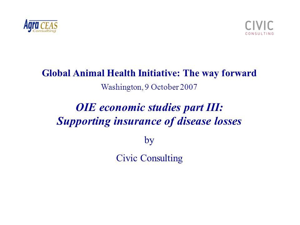 32 Civic Consulting - OIE Economic studies parts II and III Global Animal Health Initiative, Washington, 9 October 2007 The current global financing framework – Challenges It is a significant challenge to develop an efficient global institutional framework to finance epidemic livestock disease risk, which: Mobilises and allocates financial resources for epidemic livestock disease prevention and control for diseases other than AI Creates incentives for prevention at all levels Provides a mechanism to cope with the highly volatile nature of animal disease risk