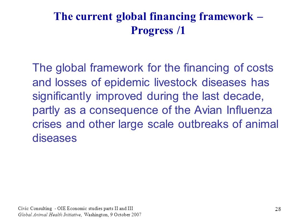 28 Civic Consulting - OIE Economic studies parts II and III Global Animal Health Initiative, Washington, 9 October 2007 The current global financing framework – Progress /1 The global framework for the financing of costs and losses of epidemic livestock diseases has significantly improved during the last decade, partly as a consequence of the Avian Influenza crises and other large scale outbreaks of animal diseases