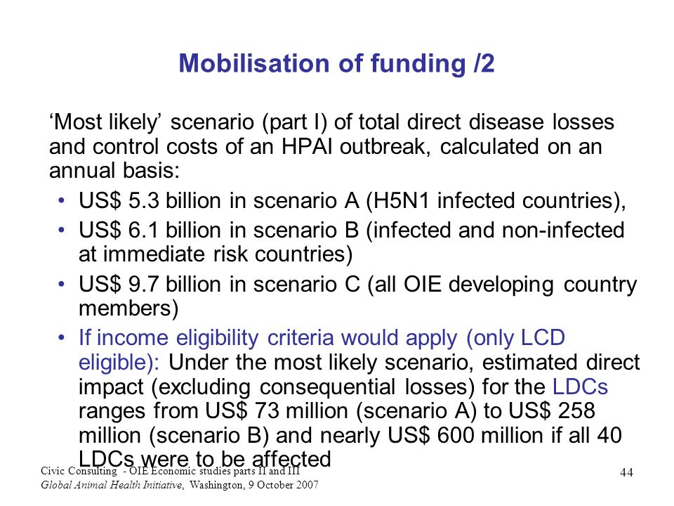44 Civic Consulting - OIE Economic studies parts II and III Global Animal Health Initiative, Washington, 9 October 2007 Mobilisation of funding /2 Most likely scenario (part I) of total direct disease losses and control costs of an HPAI outbreak, calculated on an annual basis: US$ 5.3 billion in scenario A (H5N1 infected countries), US$ 6.1 billion in scenario B (infected and non-infected at immediate risk countries) US$ 9.7 billion in scenario C (all OIE developing country members) If income eligibility criteria would apply (only LCD eligible): Under the most likely scenario, estimated direct impact (excluding consequential losses) for the LDCs ranges from US$ 73 million (scenario A) to US$ 258 million (scenario B) and nearly US$ 600 million if all 40 LDCs were to be affected