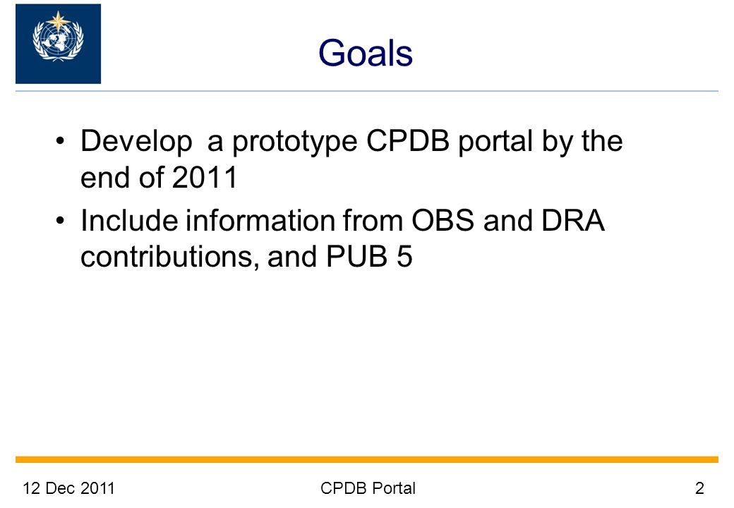 12 Dec 2011CPDB Portal3 Method Build on existing structures Add only new components (the portal) Avoid building complex systems that do everything Build a modular system instead Make data readily available Highly consultative rapid development & implementation