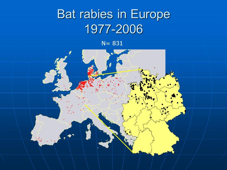 Bat rabies in Europe 1977-2006 N= 831