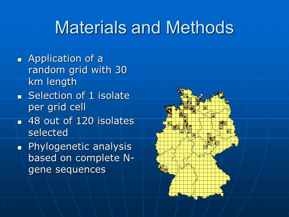 Materials and Methods Application of a random grid with 30 km length Application of a random grid with 30 km length Selection of 1 isolate per grid cell Selection of 1 isolate per grid cell 48 out of 120 isolates selected 48 out of 120 isolates selected Phylogenetic analysis based on complete N- gene sequences Phylogenetic analysis based on complete N- gene sequences