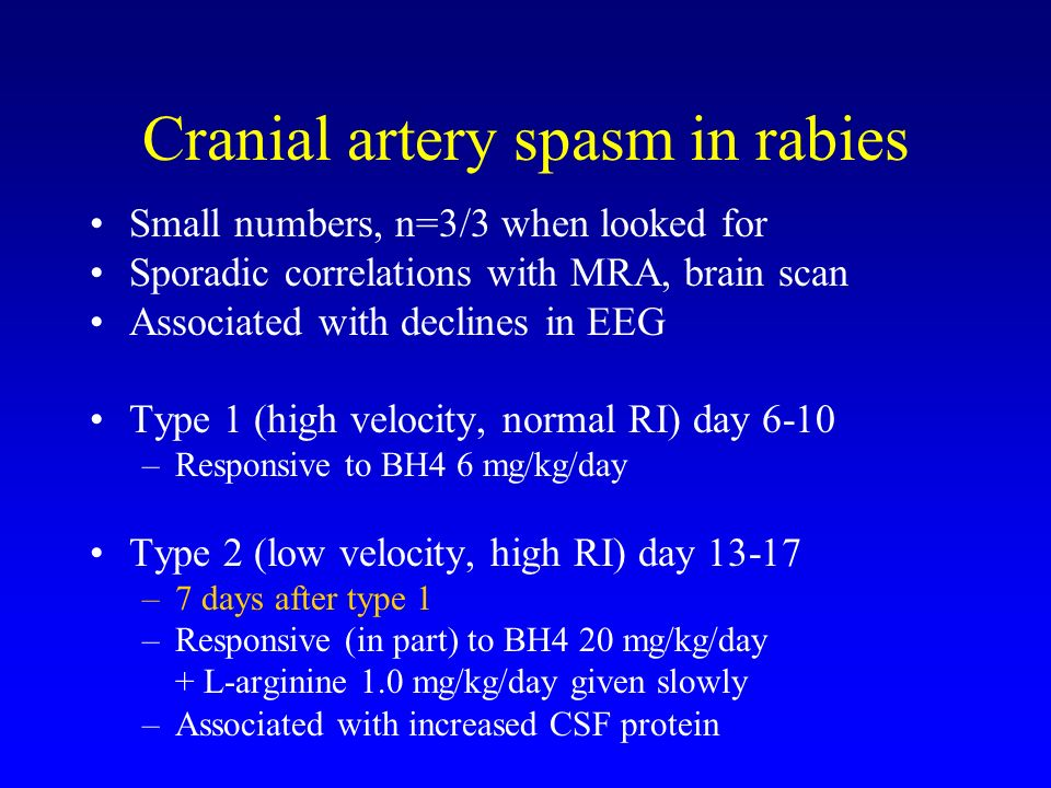 Cranial artery spasm in rabies Small numbers, n=3/3 when looked for Sporadic correlations with MRA, brain scan Associated with declines in EEG Type 1 (high velocity, normal RI) day 6-10 –Responsive to BH4 6 mg/kg/day Type 2 (low velocity, high RI) day 13-17 –7 days after type 1 –Responsive (in part) to BH4 20 mg/kg/day + L-arginine 1.0 mg/kg/day given slowly –Associated with increased CSF protein