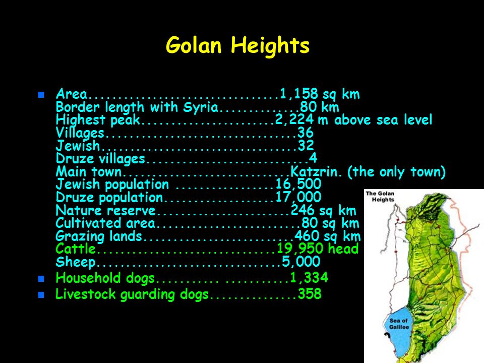 Golan Heights n n Area.................................1,158 sq km Border length with Syria..............80 km Highest peak.......................2,22