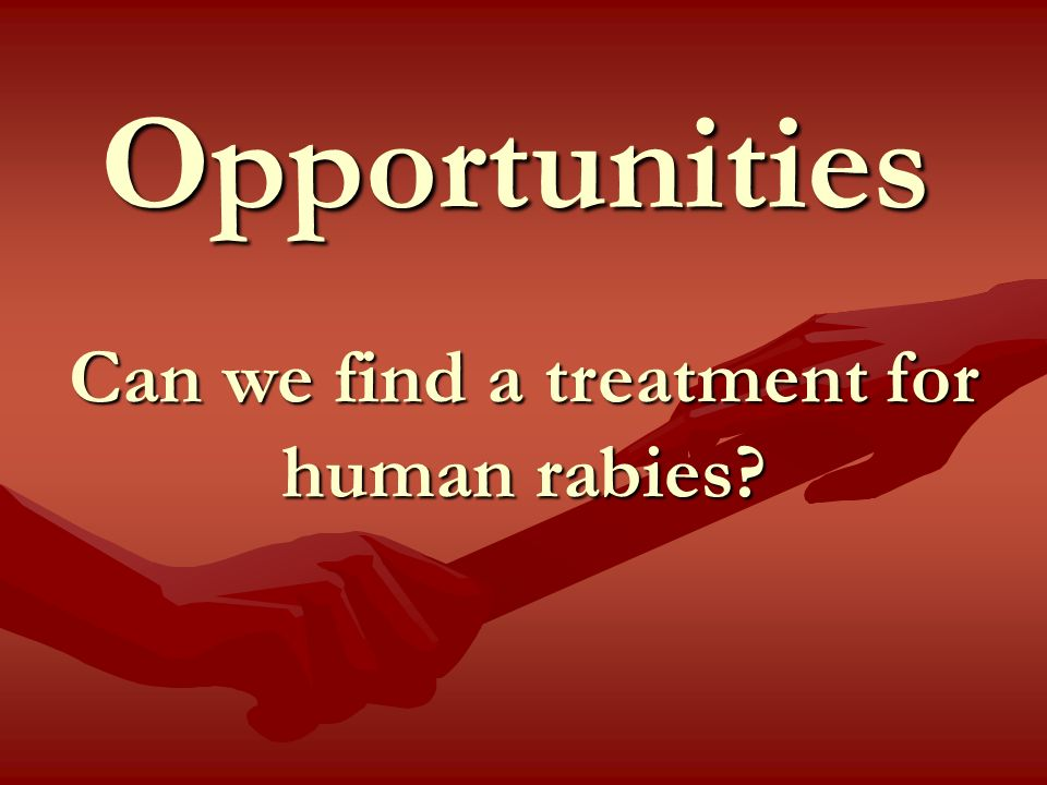 Opportunities Can we find a treatment for human rabies?