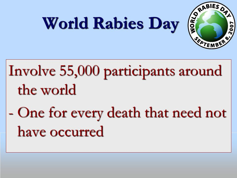 World Rabies Day Involve 55,000 participants around the world - One for every death that need not have occurred