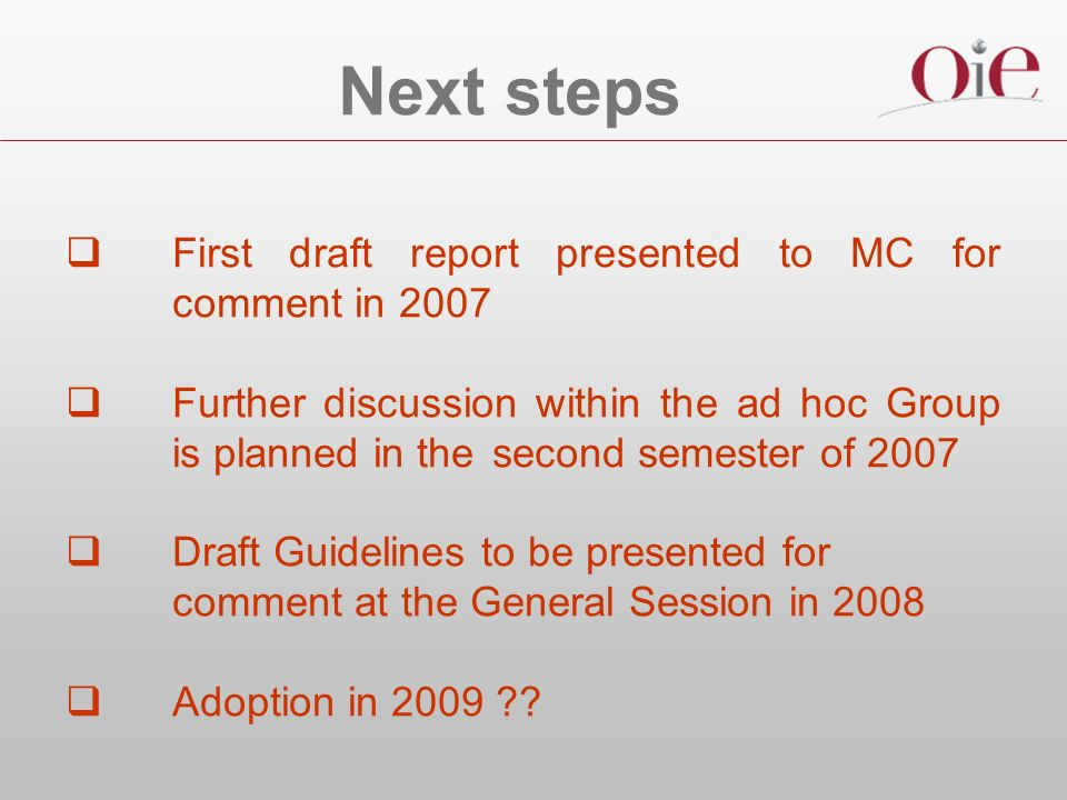 Next steps First draft report presented to MC for comment in 2007 Further discussion within the ad hoc Group is planned in the second semester of 2007 Draft Guidelines to be presented for comment at the General Session in 2008 Adoption in 2009