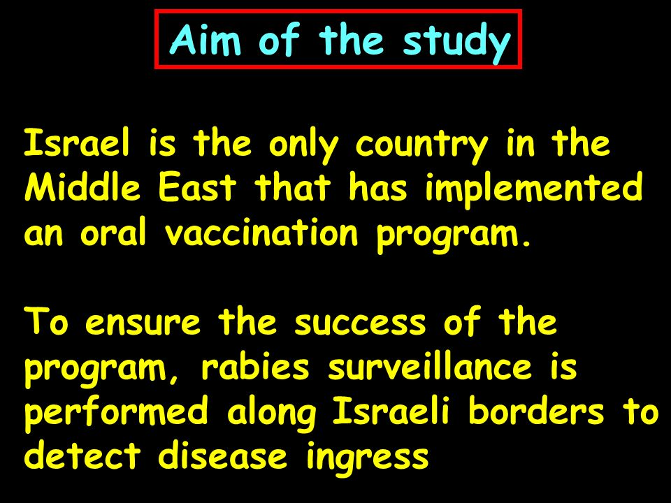 Aim of the study Israel is the only country in the Middle East that has implemented an oral vaccination program.