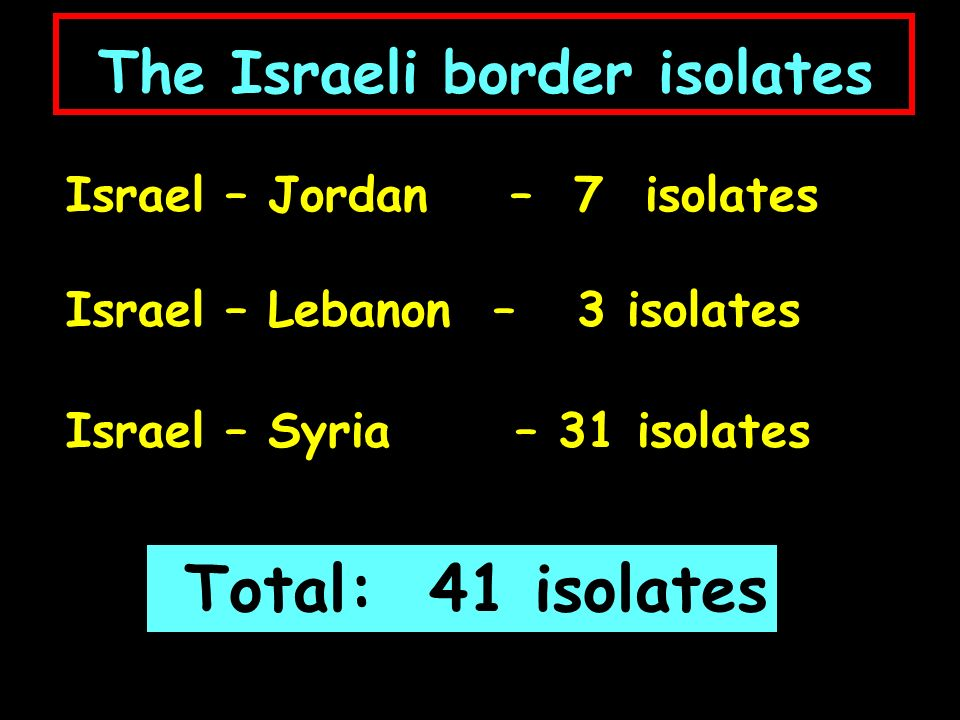 The Israeli border isolates Israel – Jordan – 7 isolates Israel – Lebanon – 3 isolates Israel – Syria – 31 isolates Total: 41 isolates