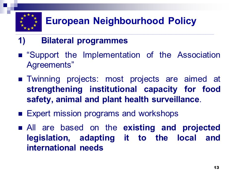 13 1) Bilateral programmes Support the Implementation of the Association Agreements Twinning projects: most projects are aimed at strengthening instit