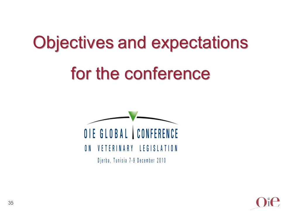 35 Objectives and expectations for the conference