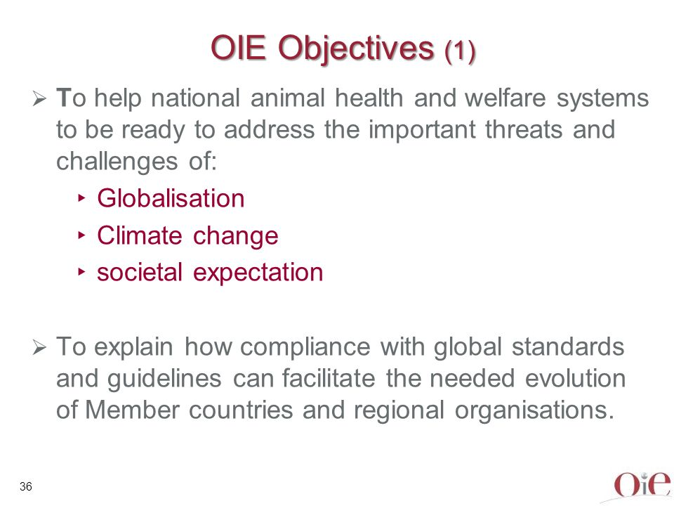 36 OIE Objectives (1) To help national animal health and welfare systems to be ready to address the important threats and challenges of: Globalisation