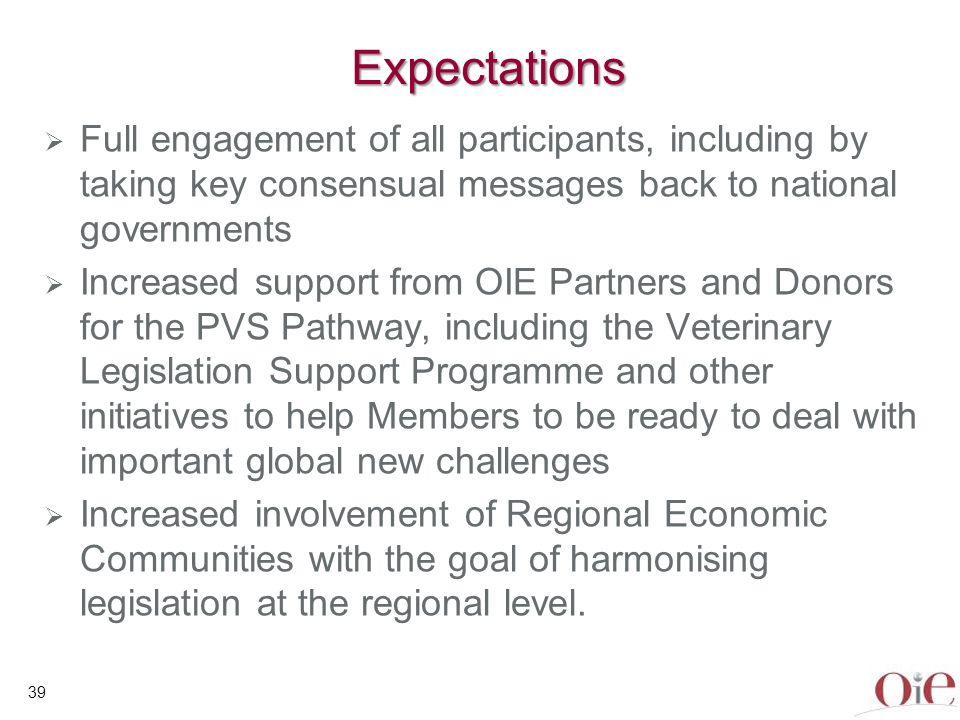 39 Expectations Full engagement of all participants, including by taking key consensual messages back to national governments Increased support from O