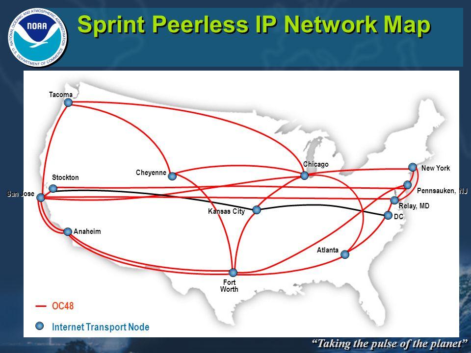 Taking the pulse of the planet Sprint Peerless IP Network Map Internet Transport Node OC48 Chicago Anaheim San Jose Pennsauken, NJ Kansas City Stockto