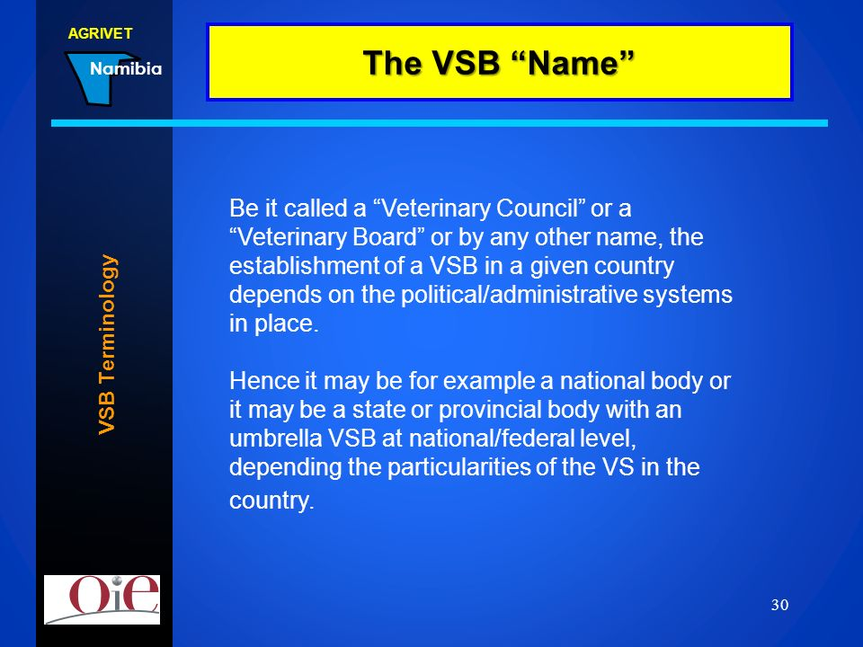 AGRIVET Namibia 22.02.2014 30 VSB Terminology The VSB Name Be it called a Veterinary Council or a Veterinary Board or by any other name, the establish