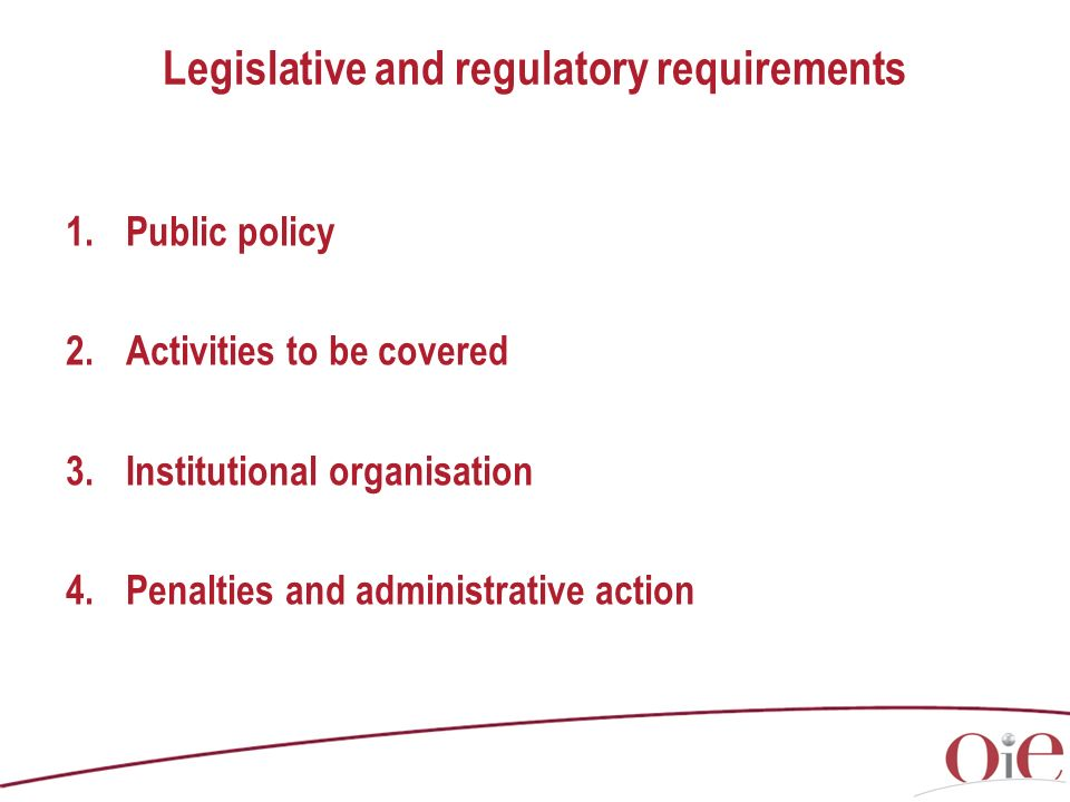 Legislative and regulatory requirements 1.Public policy 2.Activities to be covered 3.Institutional organisation 4.Penalties and administrative action