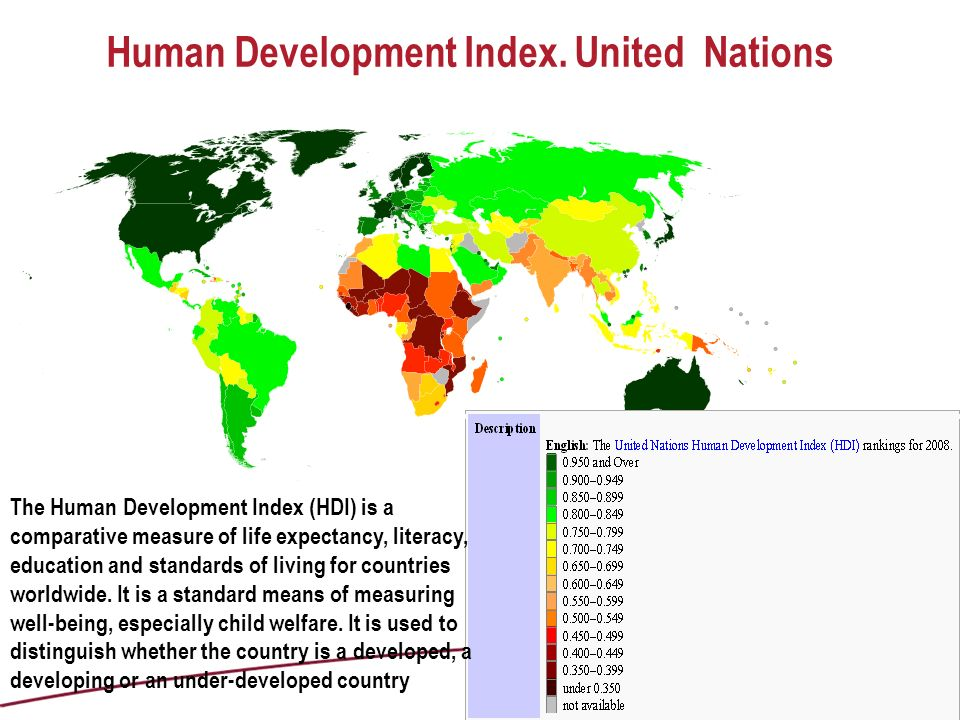 Human Development Index. United Nations The Human Development Index (HDI) is a comparative measure of life expectancy, literacy, education and standar