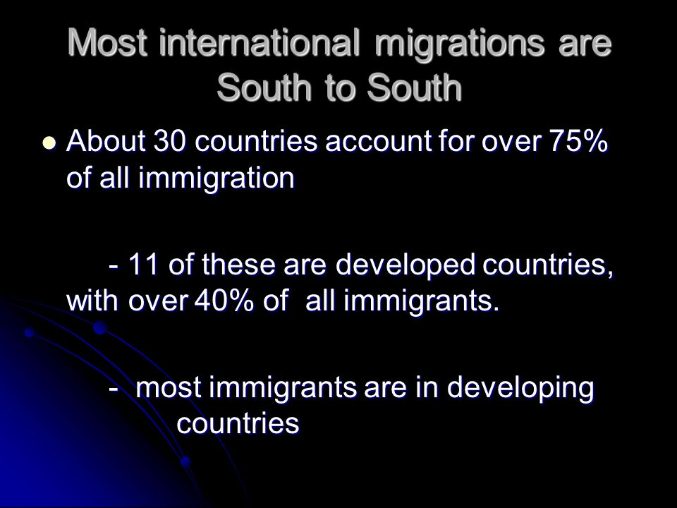 Most international migrations are South to South About 30 countries account for over 75% of all immigration About 30 countries account for over 75% of all immigration - 11 of these are developed countries, with over 40% of all immigrants.