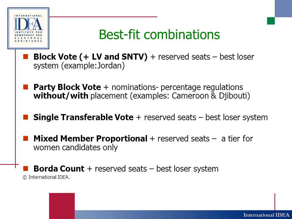 Best-fit combinations Block Vote (+ LV and SNTV) + reserved seats – best loser system (example:Jordan) Party Block Vote + nominations- percentage regulations without/with placement (examples: Cameroon & Djibouti) Single Transferable Vote + reserved seats – best loser system Mixed Member Proportional + reserved seats – a tier for women candidates only Borda Count + reserved seats – best loser system © International IDEA.