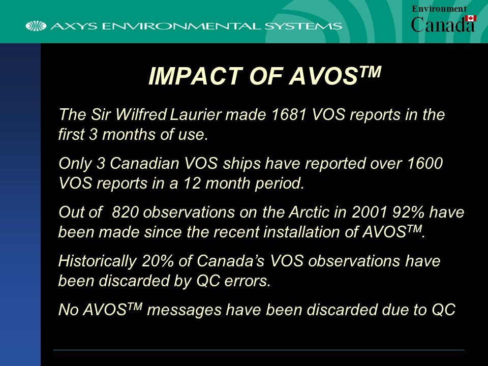 IMPACT OF AVOS TM The Sir Wilfred Laurier made 1681 VOS reports in the first 3 months of use.