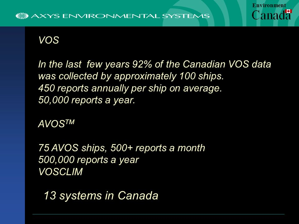 VOS In the last few years 92% of the Canadian VOS data was collected by approximately 100 ships.