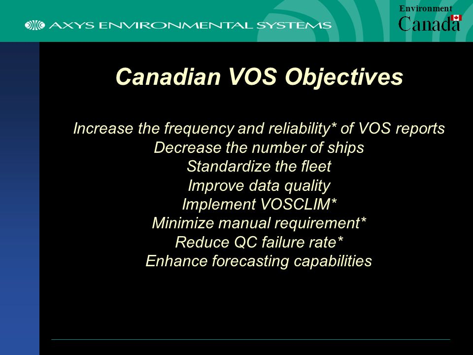 Canadian VOS Objectives Increase the frequency and reliability* of VOS reports Decrease the number of ships Standardize the fleet Improve data quality Implement VOSCLIM* Minimize manual requirement* Reduce QC failure rate* Enhance forecasting capabilities Environment
