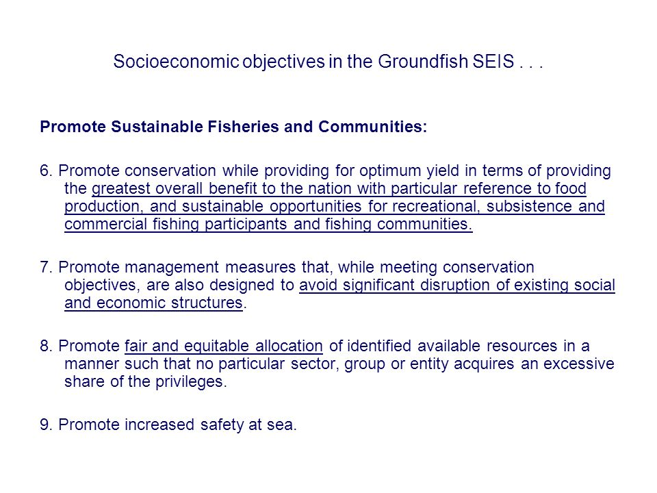Socioeconomic objectives in the Groundfish SEIS... Promote Sustainable Fisheries and Communities: 6. Promote conservation while providing for optimum