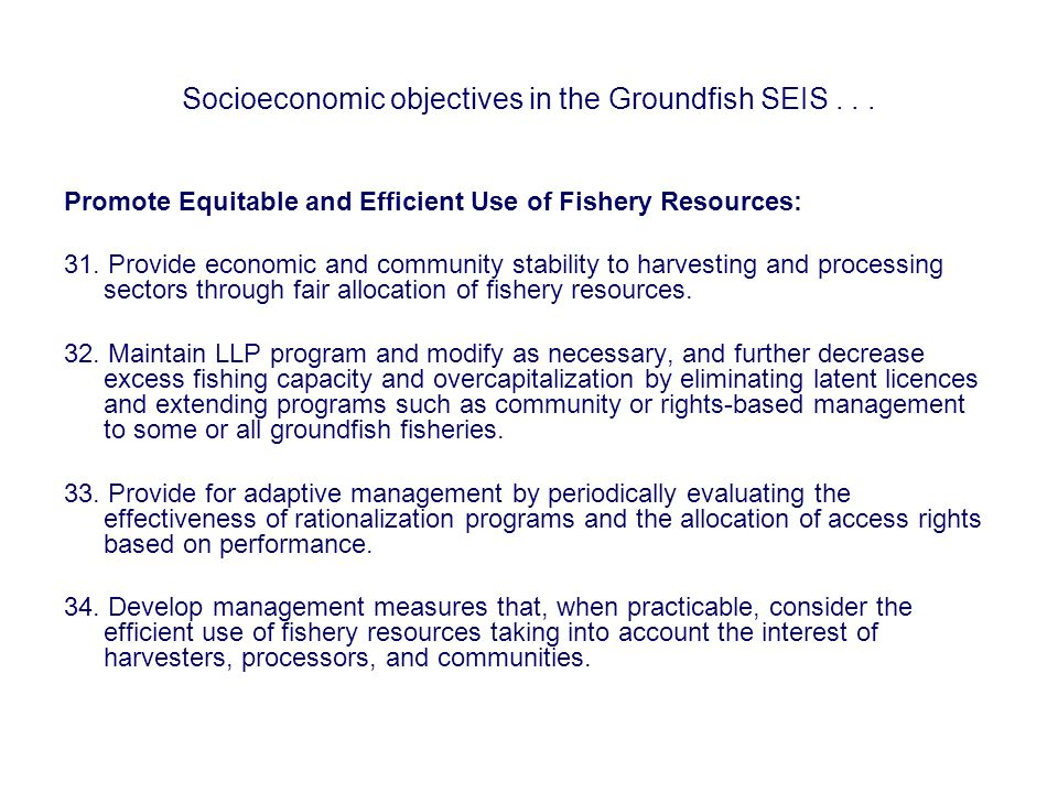 Socioeconomic objectives in the Groundfish SEIS... Promote Equitable and Efficient Use of Fishery Resources: 31. Provide economic and community stabil
