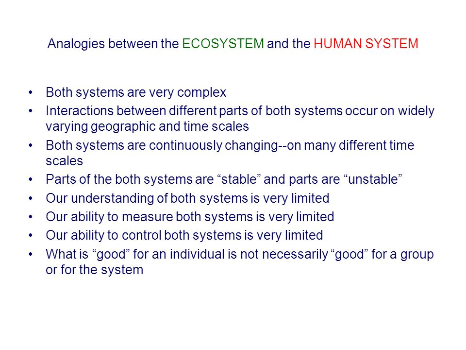 Analogies between the ECOSYSTEM and the HUMAN SYSTEM Both systems are very complex Interactions between different parts of both systems occur on widel
