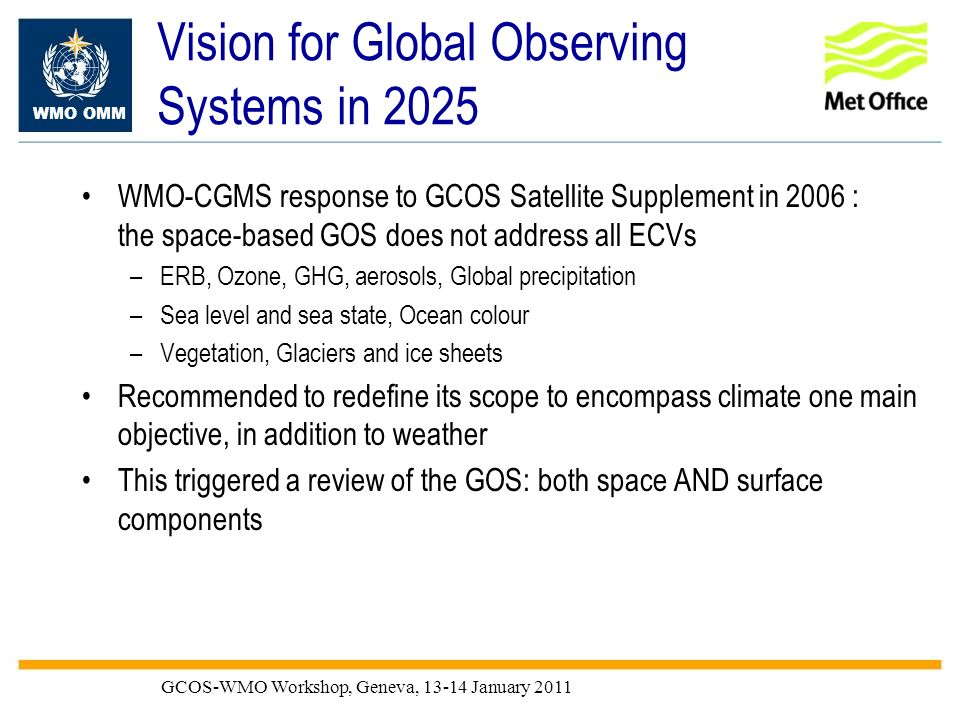 WMO OMM GCOS-WMO Workshop, Geneva, 13-14 January 2011 Vision for Global Observing Systems in 2025 WMO-CGMS response to GCOS Satellite Supplement in 20