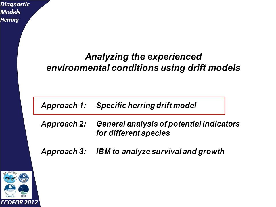 Diagnostic Models Herring ECOFOR 2012 Analyzing the experienced environmental conditions using drift models Approach 1:Specific herring drift model Approach 2: General analysis of potential indicators for different species Approach 3: IBM to analyze survival and growth