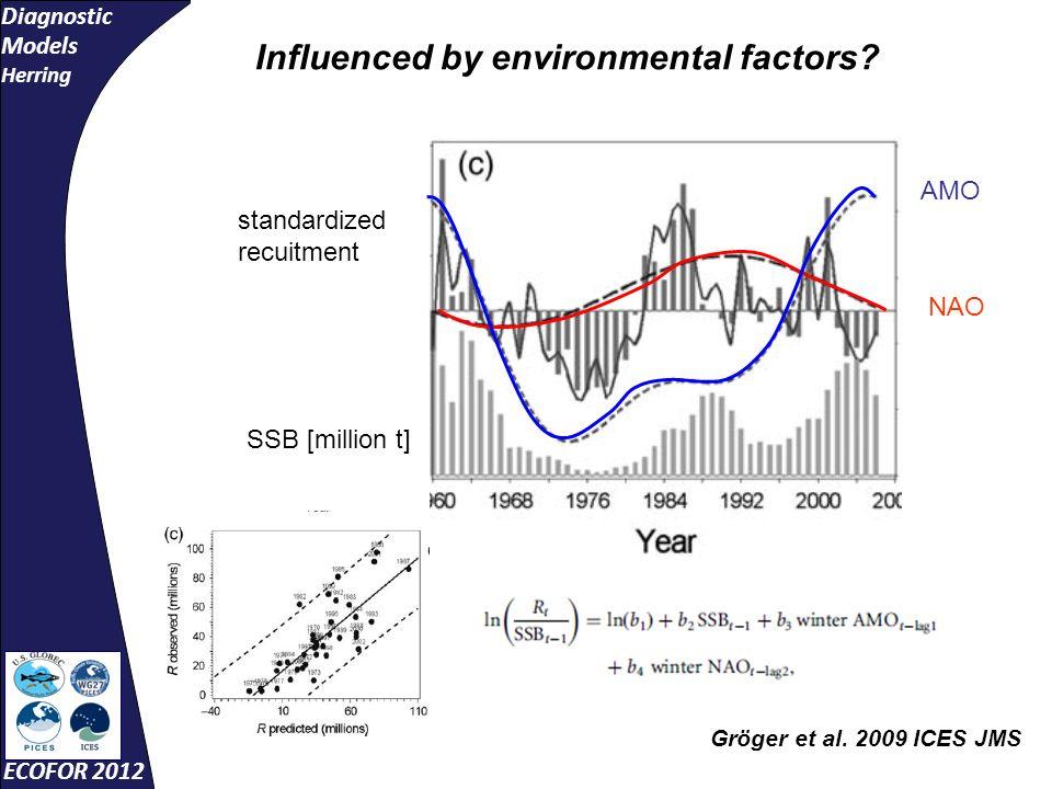 Diagnostic Models Herring ECOFOR 2012 standardized recuitment SSB [million t] AMO NAO Gröger et al.