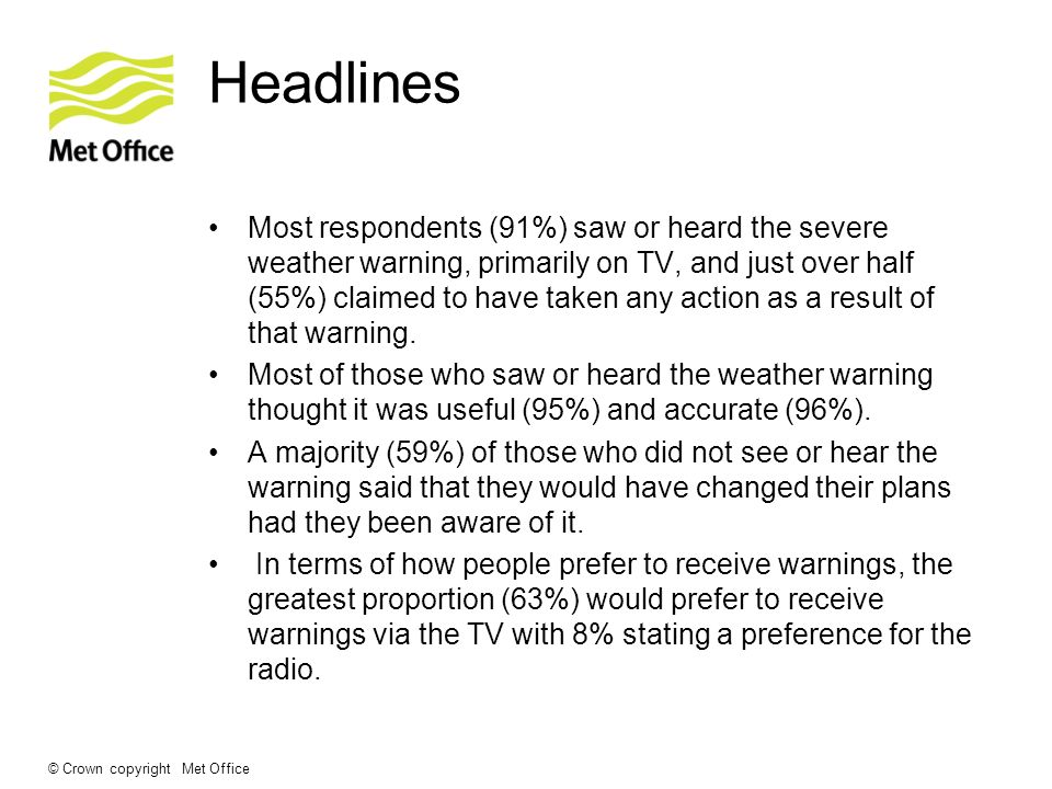 © Crown copyright Met Office Headlines Most respondents (91%) saw or heard the severe weather warning, primarily on TV, and just over half (55%) claimed to have taken any action as a result of that warning.