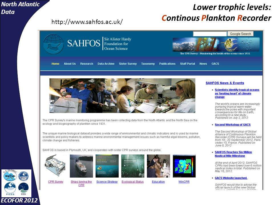 North Atlantic Data ECOFOR 2012 http://www.sahfos.ac.uk/ Lower trophic levels: Continous Plankton Recorder