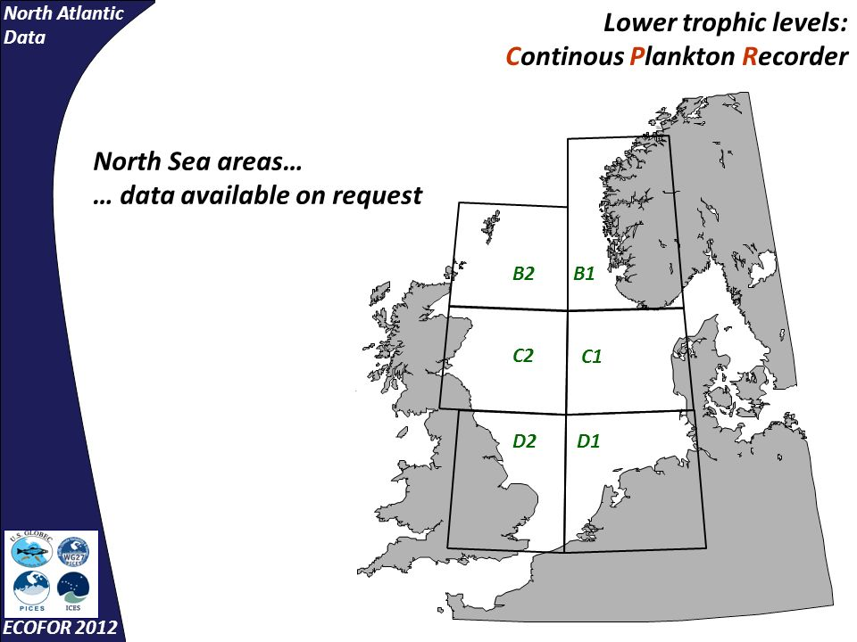 North Atlantic Data ECOFOR 2012 Lower trophic levels: Continous Plankton Recorder North Sea areas… … data available on request