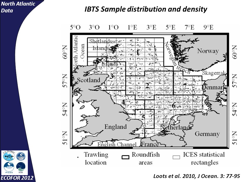 North Atlantic Data ECOFOR 2012 Loots et al. 2010, J Ocean. 3: 77-95 IBTS Sample distribution and density