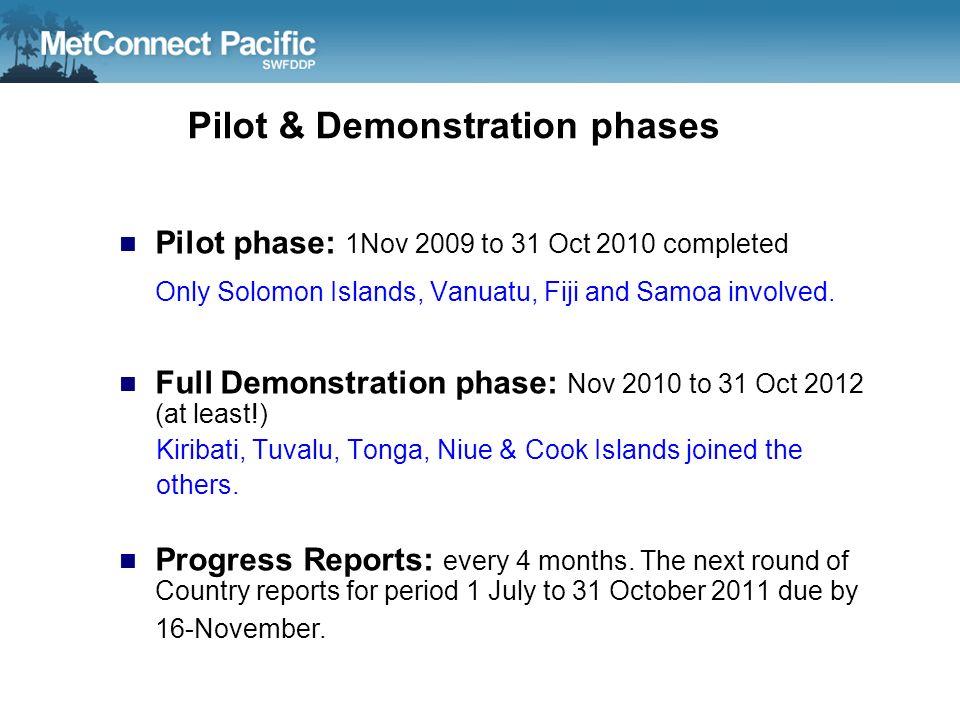 Pilot & Demonstration phases Pilot phase: 1Nov 2009 to 31 Oct 2010 completed Only Solomon Islands, Vanuatu, Fiji and Samoa involved. Full Demonstratio