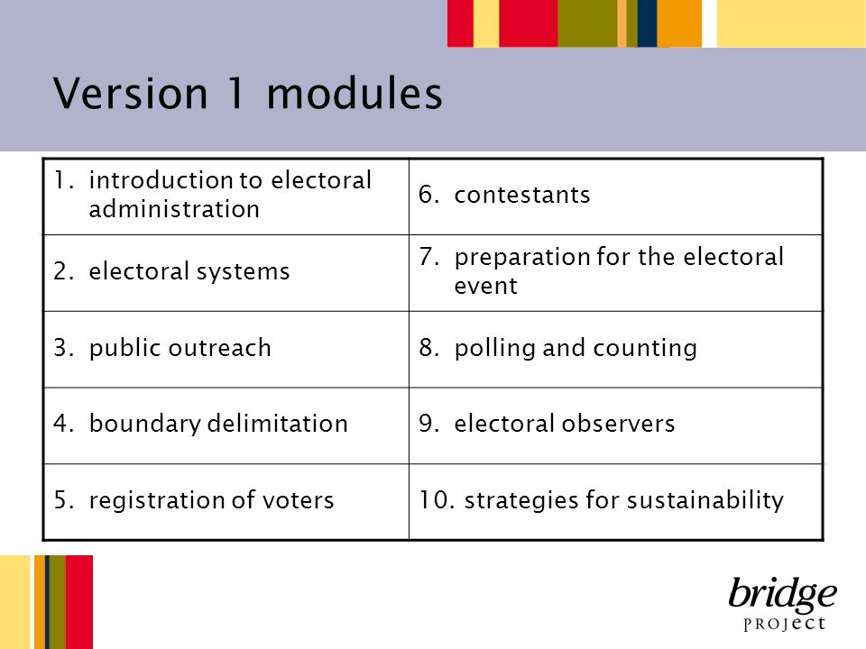 Version 1 modules 1.introduction to electoral administration 6.