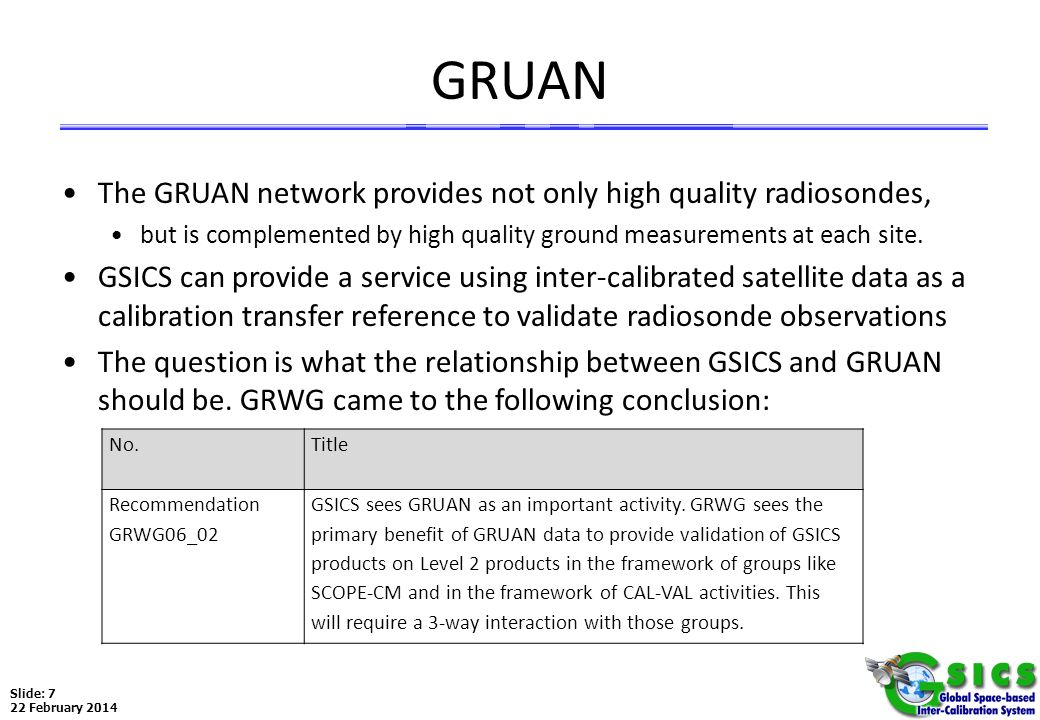 Slide: 7 22 February 2014 GRUAN The GRUAN network provides not only high quality radiosondes, but is complemented by high quality ground measurements
