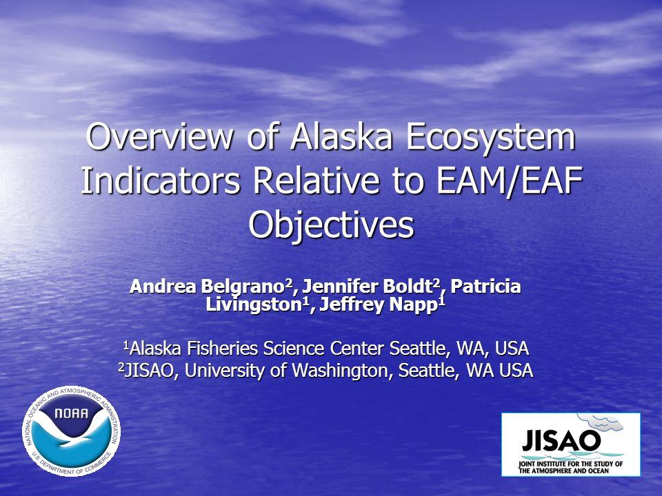 Alaska Objectives for Ecosystem Protection: Maintain predator-prey relationships Maintain predator-prey relationships pelagic forage availability pelagic forage availability spatial/temporal conc.